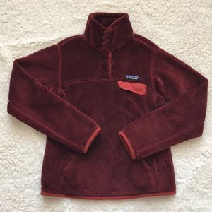 Patagonia XS burgundy red re tool snap pullover